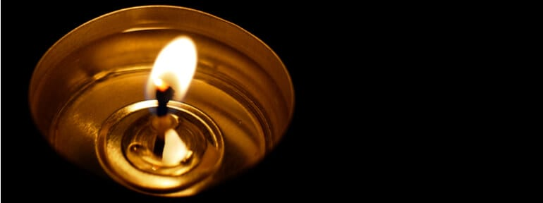 candle burning in darkness